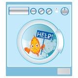 Fish in washing machine. Illustration Royalty Free Stock Images