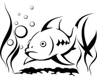 Fish in the water, blowing bubbles surrounded by. Seaweed, symbol, vector illustration Royalty Free Stock Photo
