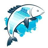 Fish and water bubbles. Fish and blue water bubbles symbol for fishing Stock Image