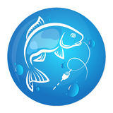Fish and water drop design for fishing Royalty Free Stock Photography