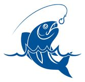 Fish in water and fishing hook. Simple blue vector fish with fishing hook and water waves Stock Photography