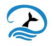 Fish in water, logo. Illustration Royalty Free Stock Photo