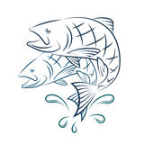 Fish and water splashes. Silhouette Royalty Free Stock Images