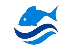 Fish on water waves sea logo icon vector. Concept icon design vector abstract Stock Images