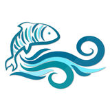 Fish and water waves silhouette. Vector Stock Images