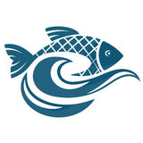Fish on the water waves vector illustration