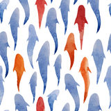 Fish watercolor pattern background wallpaper. Animals imagery life  swimming  drawing  travel  love Stock Photos