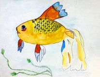 Fish. Watercolour hand drawing. Royalty Free Stock Photography