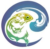 Fish with wave. Stylized fish with wave isolated on a white background Stock Image