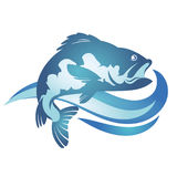 Fish and wave. Fish and blue wave silhouette Stock Image