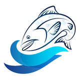 Fish and wave Stock Photo