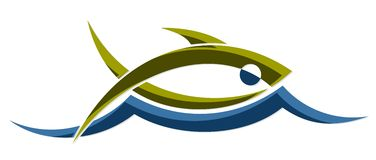 Fish with wave. A logo of the stylized sea fish with a blue wave Royalty Free Stock Images