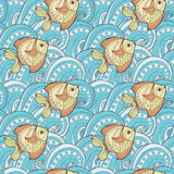 Fish and wave pattern. Fish and wave doodle seamless pattern Royalty Free Stock Photography