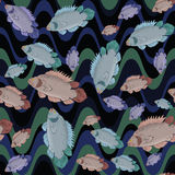 Fish and wave seamless pattern Stock Image