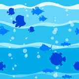 Fish in wave seamless vector pattern. Seamless vector pattern with cute cartoon fish in waves stock illustration