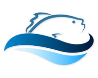 Fish on waves Royalty Free Stock Photos