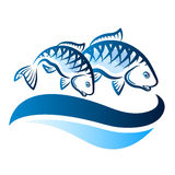 Fish on the waves. Couple of fish on blue waves vector Stock Photo