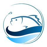 Fish on the waves and a hook. Fish on the waves and hook symbol for fishing Stock Images