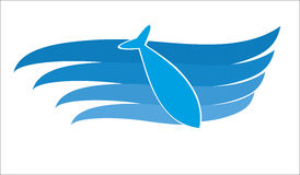 Fish in the waves logo. Fishfish in the blue waves vector logo in the waves logo Stock Photos