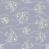 Fish and waves seamless pattern. Seamless background with fish and waves on grey Royalty Free Stock Images