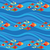 Fish and waves seamless pattern () Royalty Free Stock Images