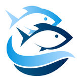 Fish on waves symbol. Two fish on waves symbol vector Royalty Free Stock Photo