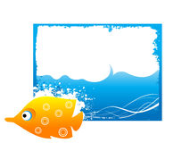 Fish on wavy blue waves. Fish with bubble on rectangular background royalty free illustration