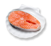 Fish on the white plate. Stock Photo