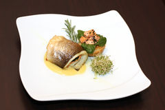 Fish in white plate royalty free stock images