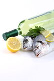Fish and white wine Royalty Free Stock Photos
