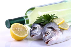 Fish and white wine Stock Photography