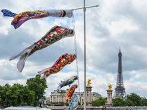 Fish windsock or fish flag and Eiffel Tower Royalty Free Stock Photos