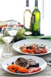 Fish & wine Stock Photography