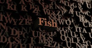 Fish - Wooden 3D rendered letters/message. Can be used for an online banner ad or a print postcard Royalty Free Stock Images