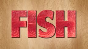 Fish word covered in raw fish texture on a wooden cutting board. Fish word covered in raw fish texture on a wooden kitchen cutting board Stock Image