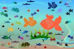 Fish world. Aquarium fish new stylish illustration Stock Photos