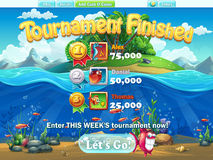 Fish world - tournament finished for computer web game Stock Photography