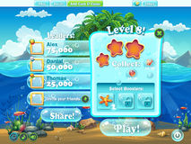Fish world - window level complete for computer web game.jpg Royalty Free Stock Images
