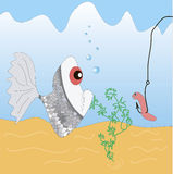 Fish and a worm Royalty Free Stock Images