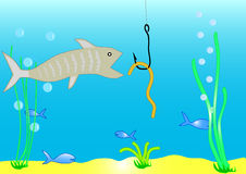 Fish and worm. On a hook Stock Images