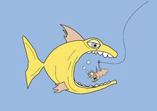 Fish & worm. A comic illustration of a large fish eating a horrified worm on a fishing hook Stock Image