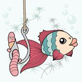 Fish and worm. Comics drawn fish preys on worm fishing Royalty Free Stock Image