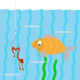 Fish and worm on a hook. Fish swims. looking at a worm on a hook. the worm pretends to be dead. vector illustration of cartoon Stock Image