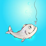 Fish and worm. Piranha fish and worm on hook in a blue water. Hand drawn vector illustration Royalty Free Stock Photo