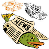 Fish Wrapped In Newspaper. Cartoon fish wrapped in newspaper in different colors Stock Images