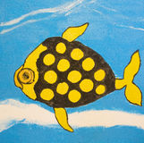 Fish in yellow and black colours, painting Royalty Free Stock Image