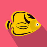 Fish yellow tang icon, flat style. Fish yellow tang icon in flat style with long shadow. Sea and ocean symbol Royalty Free Stock Photography