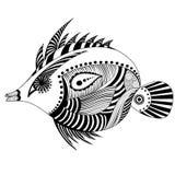 Fish zenart. Black line fish (zenart stylistic Stock Photo