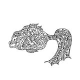 Fish zentangle. Coloring page on white Royalty Free Stock Images