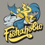 Fishaholic. Handwritten lettering. royalty free illustration